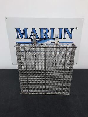 A 304 grade stainless steel wire mesh basket from Marlin Steel.