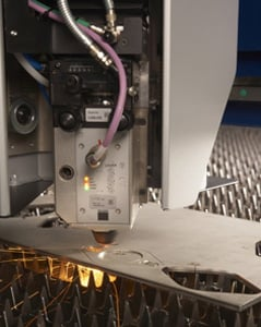 laser cutting machines can make precise holes very quickly.