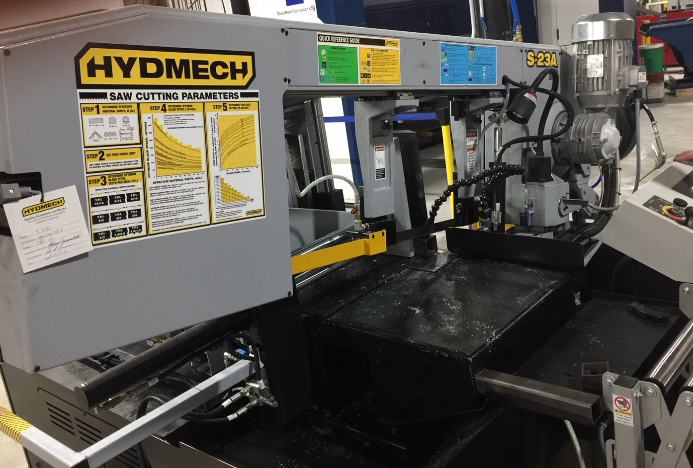 Marlin Steel Adds a Hydmech S-23A Automatic Pivot Style Band Saw
