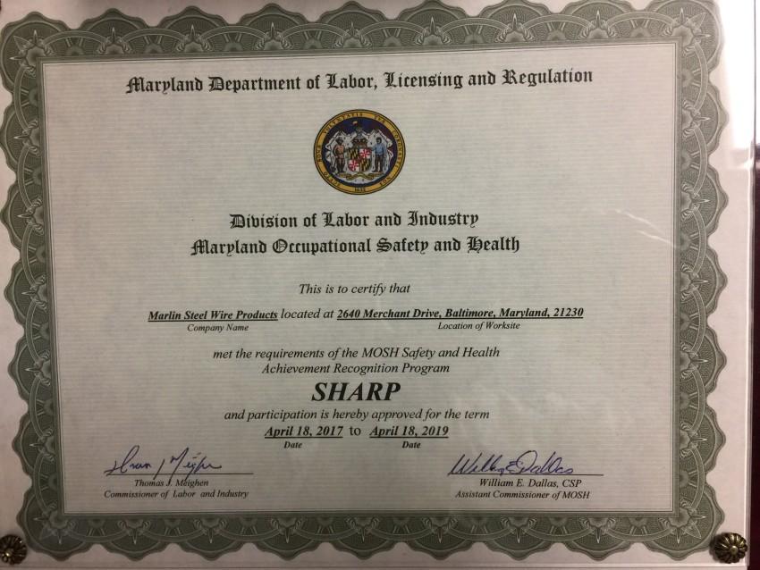 Marlin Steel Earns SHARP Designation Once Again!